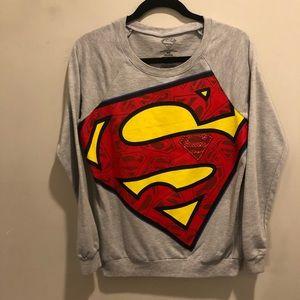 Superman sweatshirt graphic big logo gray red